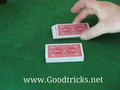 Card deck is split into two halves.