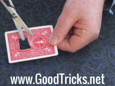 Make your gimmick by cutting a flap in the center of a playing card as shown here.