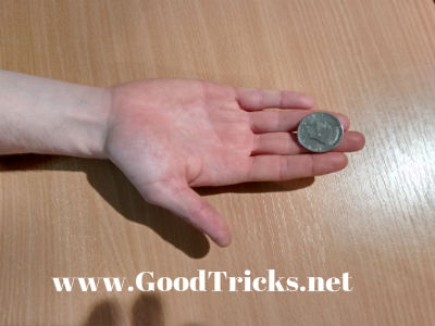 Coin is seen being balanced near the finger tips.