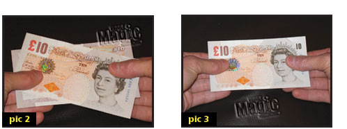 money trick explanation showing handling of note.
