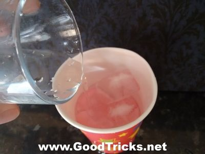 Sponge and ice cubes are already inside cup as water is poured into the cup.