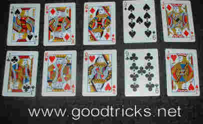 Two sets of five cards contain similar cards of different suits.