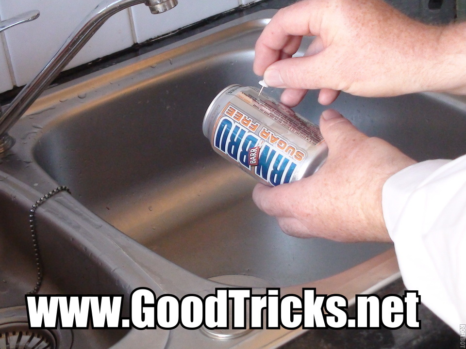 Make small hole in soda can