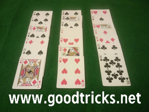 Playing card setup up to perform this self working card trick.